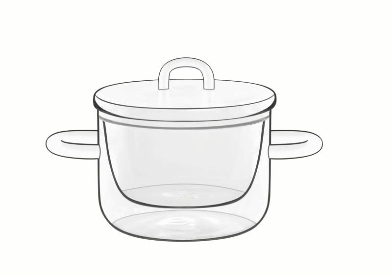Food & Design Schälchen 0,25 l mit Henkeln und Deckel Thermic Glass , 2 Stück im Geschenkkarton
