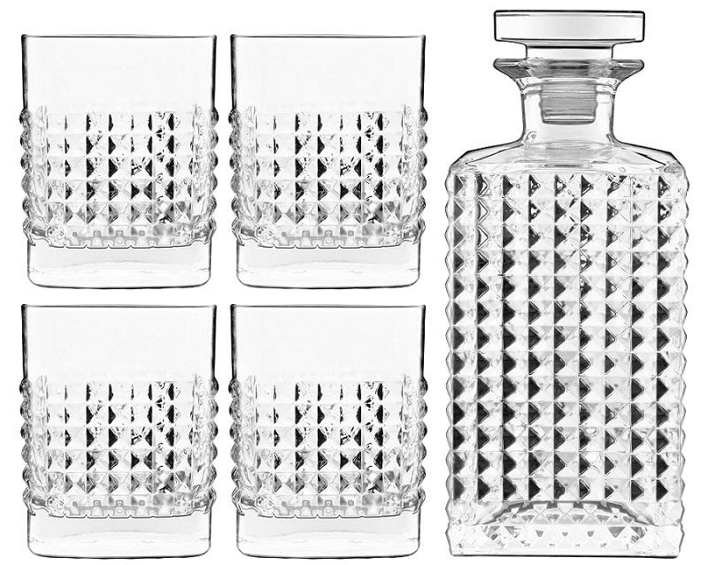 Mixology Elixir Bar Set Whisky 5-teilig, 1 Flasche + 4 Gläser D.O.F., im Geschenkkarton