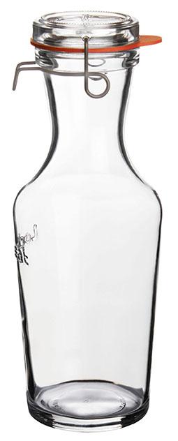 Lock-Eat Karaffe 1.000 ml, mit Glasdeckel und Gummiring, im 6er Geschenkkarton